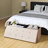 SONGMICS 43 Inches Faux Leather Folding Storage