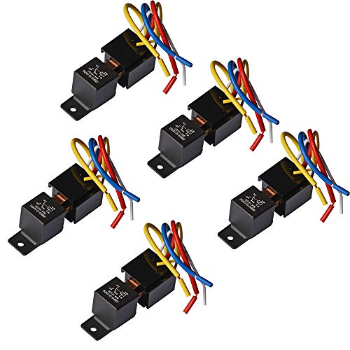Ehdis [5 Pack Car Truck Motor Heavy Duty Heavy Duty 5-Pin 80A 12V On/Off Normally Open SPDT Relay Socket Plug 5 Wire Automotive