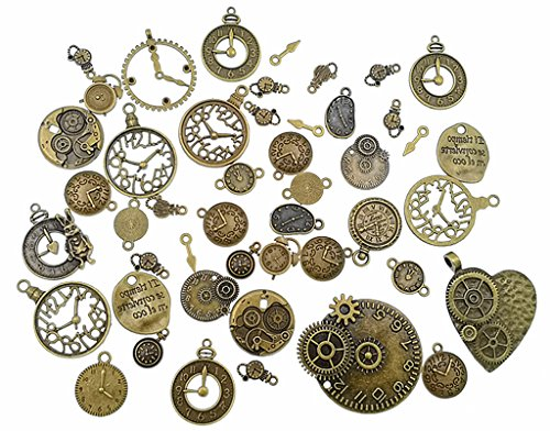 Kinteshun Clocks and Watches Dial Face Movement Charm Alloy Multistyle Steampunk Pendant Connector for DIY Jewelry Making Accessaries(100 Gram,Antique Bronze) (Antique Faces Necklace)