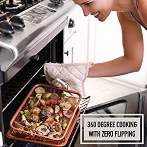 Copper Baking Sheet Air Fryer - Deluxe Multi-Purpose Copper Crisper Pan Sheet with Non Stick Mesh Grill Crisper Tray - Oven Safe Non-Stick Square Pan Design