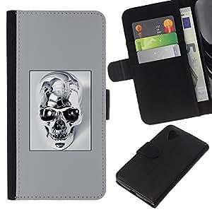LECELL--Cuero de la tarjeta la carpeta del tirón Smartphone Slots Protección Holder For LG Nexus 5 D820 D821 -- Cráneo del cromo --