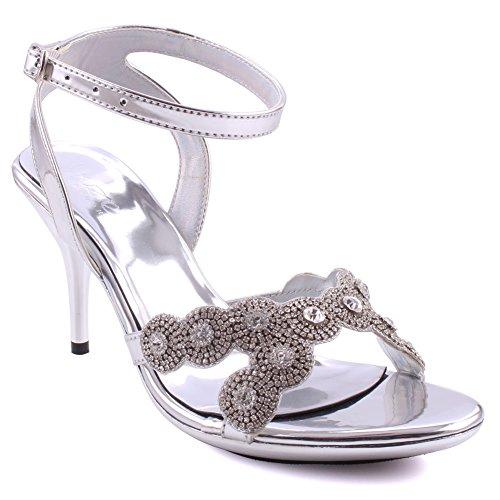 Unze Frauen Esme Open Toe Formale Slip on Ankle Strap Stiletto Heel Abend Diamante eingerichtet Hochzeit Sandalen Größe 3-8 - 2287-1780 Silber