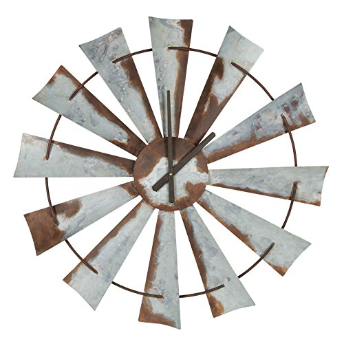 Kate and Laurel Millbrook Windmill Distressed Metal Wall Clock, 32