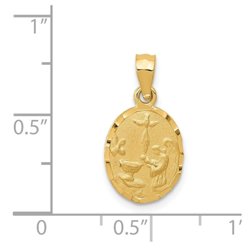 14k Yellow Gold Satin /& Diamond-cut Baptism Pendant