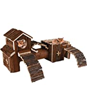 LIVIVO® Aire de jeu en bois naturel pour rongeur, hamster, souris, gerbille, rats, Jouets pour animaux de compagnie, maison de jeu, tunnel
