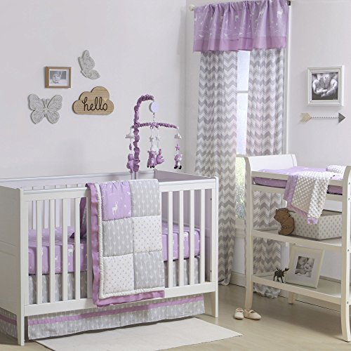 Purple and Grey Woodland and Geometric 3 Piece Crib Bedding by The Peanut ()