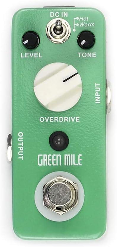 Pedal de efectos de guitarra Pedal de efecto de guitarra 2 modos Over Drive Micro Green Mile Effect Pedal Pedal de efecto de guitarra eléctrica con 3 perillas de control Pedal de efecto de guitarra Lo