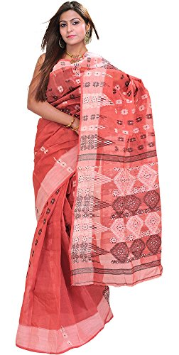 Exotic India Baroque-Rose Tant Sari from Bengal with Woven Flowers - Pink