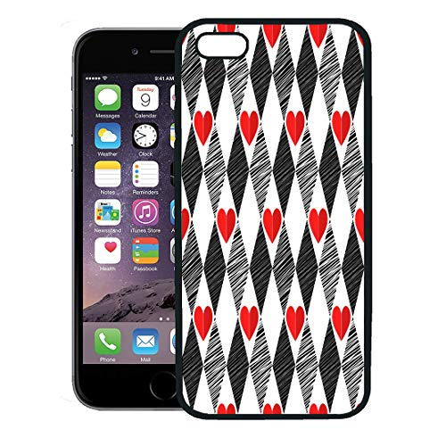 Semtomn Phone Case for iPhone 8 Plus case,Pattern Black and White Red Love Valentin Day Harlequin Rhombus Hearts Abstract iPhone 7 Plus case Cover,Black ()