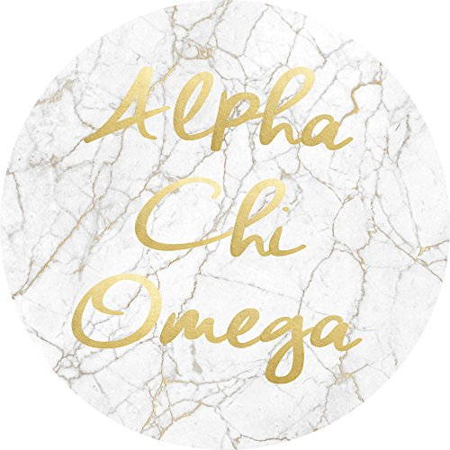 Alpha Chi Omega Sorority Absorbent Sandstone Car Cup Coaster (Set of 2) Licensed Product a chi o (Light Marble Gold Script) (Script Decal Set)