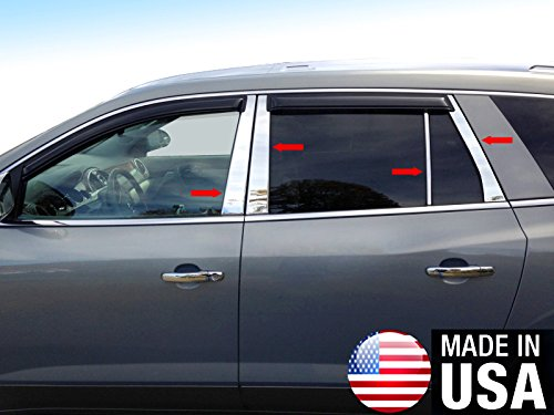 Made In USA! Works With 2007-2017 Buick Enclave 8PC Stainless Steel Chrome Pillar Post Trim (Steel Pillar)
