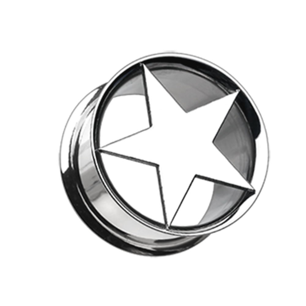 Inspiration Dezigns Nova Star Hollow Steel Double Flared Plugs Sold as Pairs