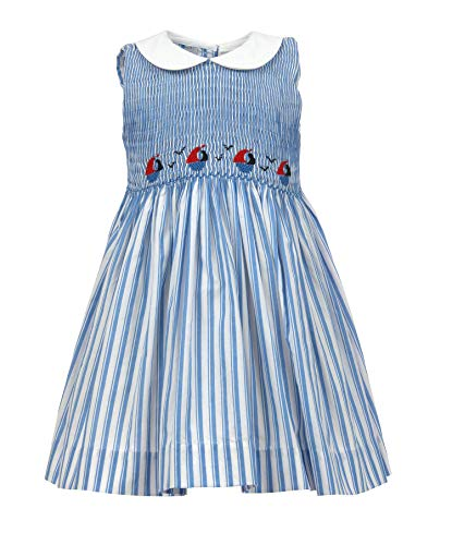 - Carriage Boutique Girls Blue and White Dress - Nautical Smocked Sailboats