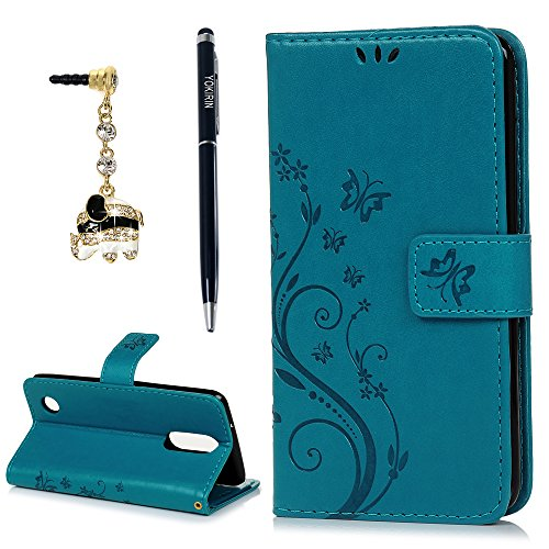 Butterfly Phone Cover - LG Aristo 2 Case, LG Aristo, LG Aristo 2 Plus, LG Rebel 2, LG Risio 3Wrist Strap Flip Kickstand PU Leather Wallet Cover Embossed Floral Butterfly ID&Credit Card Holder for LG K8 2017 & 2018, Blue