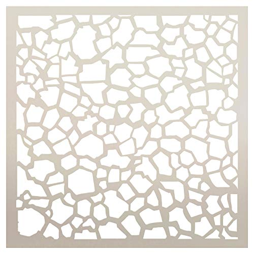 (Multimedia Pebble Mosaic Wall Background Stencil StudioR12 | Reusable Mylar Template | for Cake Decorating | Multi Layering Art Projects | Journal Art Word | Wood | DIY Home - Choose Size (6