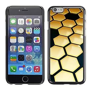 FECELL CITY // Duro Aluminio Pegatina PC Caso decorativo Funda Carcasa de Protección para Apple Iphone 6 Plus 5.5 // Hive Gold Black 3D Hexagon
