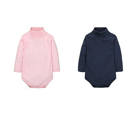 Infant Bodysuit Jumpsuit Pink Royalblue 18 Months CuteOn 2 Packs Unisex Baby Romper 100/% Cotton Polo Neck Long Sleeve