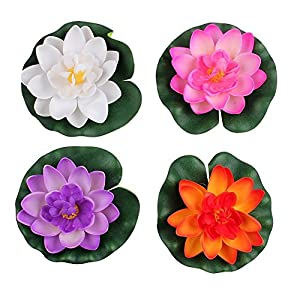 Set Of 4 Different Color Artificial Floating Foam Lotus Flower Water Lily for Home Garden Pond Decor,Small 1