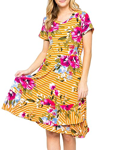 Ruici Women's Striped Floral Summer Short Sleeve Casual Flared Midi Dress with Pockets Mustard ()