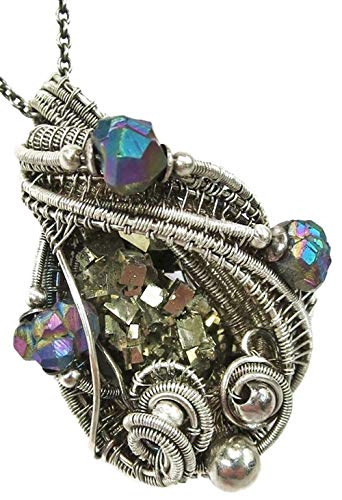 - Pyrite Crystal Cluster Wire-Wrapped Necklace in Sterling Silver with Titanium Quartz Druzy