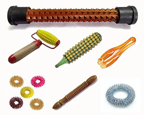 Acupressure Health (7in1) Kit Wooden Refleology Foot Massager, Body Roller, Plastic Karela, Finger Massager, Wooden Jimmy Stick, Bracelet, Sujok Rings