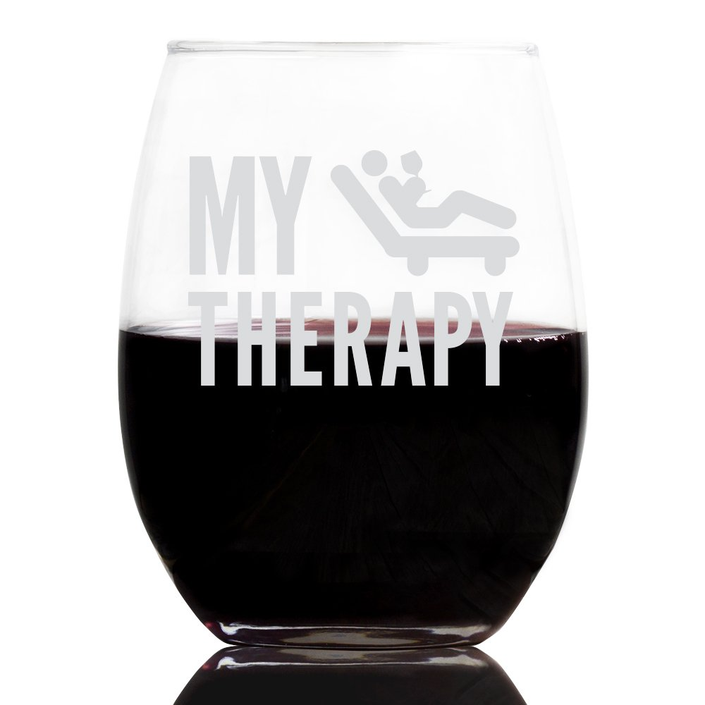 My Therapy 21 Ounce Stemless Wine Glass, Tumbler Liquid Therapy, Girls Night, Cocktail Glass, Present for Mom