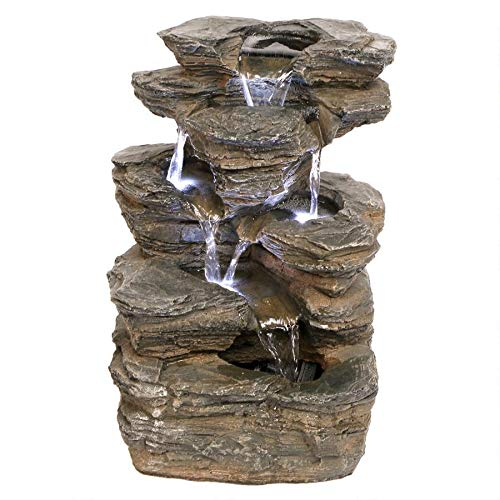 Water Fountain with LED Light - Devil's Thumb Falls Garden Decor Rock Fountain - Outdoor Water Feature (Garden Fountain Treasure)