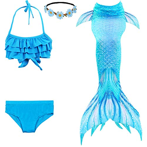 Familycrazy 2019 New Girls Swimsuit Mermaid Tails for Swimming Princess Bikini Bathing Suit Set for 3-12Y(No Monofin) Blue Sea