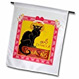 3dRose fl_181631_1 Le Chat Damour with Heart and Cherub Border Garden Flag, 12 by 18-Inch
