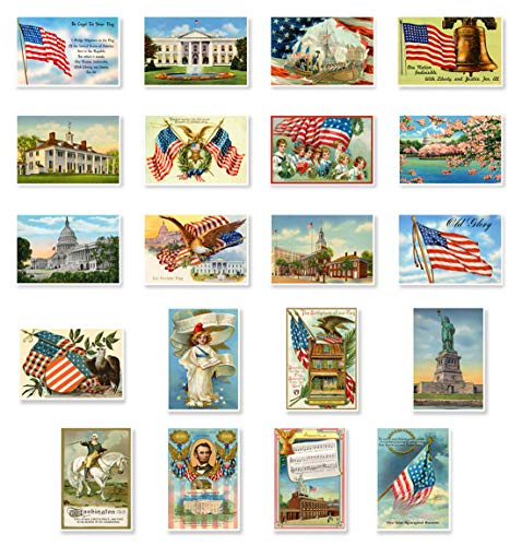 - PATRIOTIC AMERICAN vintage reprints postcard set of 20 postcards. United States of America flag, patriot, president and other symbolic and national pride themes post card variety pack. Made in USA.
