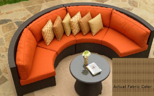 4-Piece Resin Wicker Malibu Curved Sectional Sofa with Fife Oak Cushions