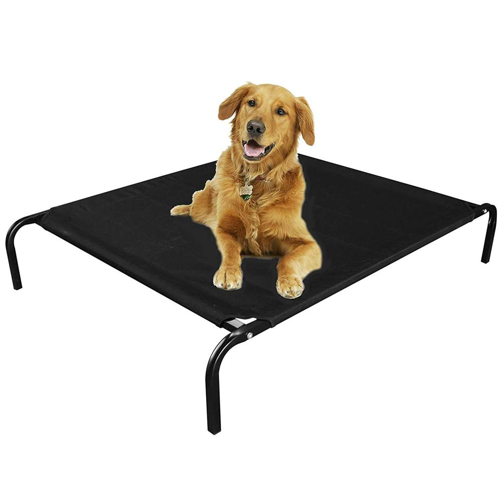 Black LDog Bed Large Cat Pet Elevated Bed Waterproof Portable Cot,Black,L