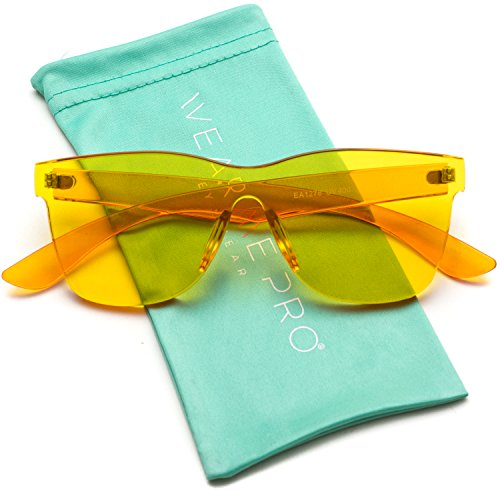 Lens Rimless Sunglasses Shades - WearMe Pro - Horn Rimmed Tinted Colorful Lens Rimless Sunglasses