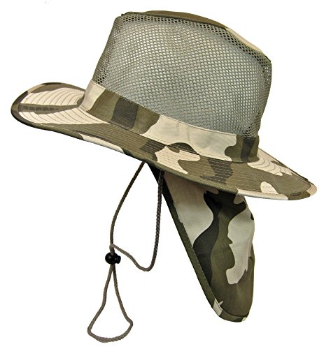 (Cool Mesh Military Camouflage Boonie Bush Safari Outdoor Fishing Hiking Hunting Boating Brim Hat Sun Cap with Neck Flap (Desert Camo, M))