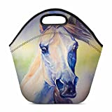 InterestPrint Watercolor Colorful Arabian Horse Animal Portrait Lunch Bag Tote Handbag Lunchbox Insulated Neoprene Gourmet Tote Cooler Warm Pouch 11.93'' x 11.22'' x 6.69''