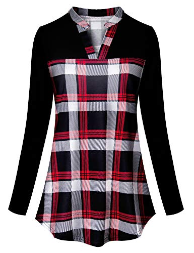 Tanst Plaid Flannel Shirt Women, Lady Fall Long Sleeve Henley V Neck Blouse Printing Zulily Tunics for Leggings Flattering Novelty Checked Tops Cotton Fabric Career Office Clothes Red XL ()