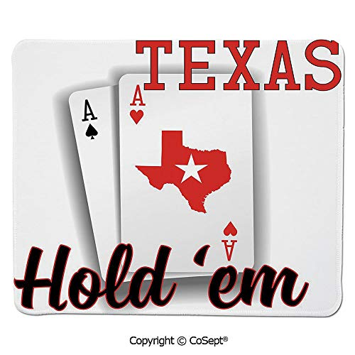 Quality Selection Comfortable Mouse Pad,Texas Holdem Theme Pair of Aces with Map Winning Hand Decorative,Dual Use Mouse pad for Office/Home (15.74