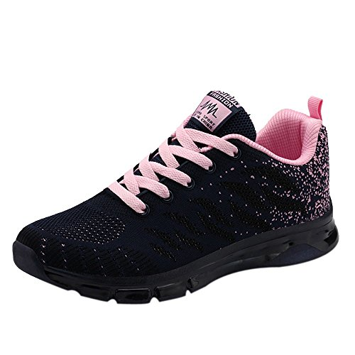 ASERTYL Women Fitness Shoes Flying Woven Shoes Air Cushion Sneakers Student Net Running Shoes Breathable Light Walking (Sandals Patent Guess Leather)