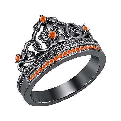 RUDRAFASHION Beautiful 0.25ctw Created Orange Sapphire 14K Black Gold Plated Princess Crown Ring-Fashion Flower Ring for Womens
