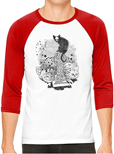 Halloween Cemetery Cat White Unisex 3/4 Sleeve Baseball Tee, Red, L