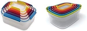 Joseph Joseph Nest Lock Plastic Food Storage Container Set with Lockable Airtight Leakproof Lids & Nest Plastic Food Storage Containers Set with Lids Airtight Microwave Safe, 12-Piece, Multi-color