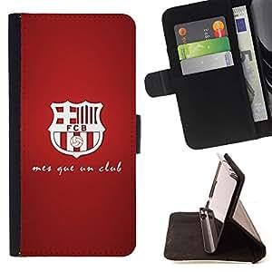 - MES QUE UN CLUB - FOOTBALL SOCCER - - Prima caja de la PU billetera de cuero con ranuras para tarjetas, efectivo desmontable correa para l Funny HouseFOR Sony Xperia M2