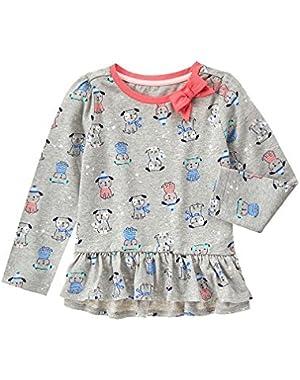 Baby Girls' Grey Pup Print Peplum Tee