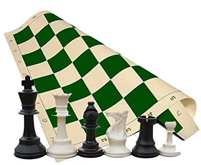 "Tournament Chess Set - Chess Pieces - Green Chess Board - 34 Pieces (2 Extra Queens) - 3.75"" King"