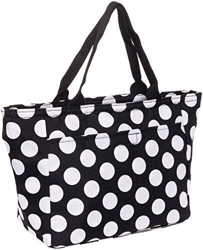 SilverHooks Womens Polka Dot Insulated Lunch Tote Bag (Black & White)