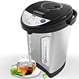 NutriChef Digital Electric Tea Kettle - Electric Kettle Water Boiler & Warmer w/Adjustable Temp Control - For Coffee & Tea 3.69 Quarts - Auto Shut Off & Child Safety - PKWK53
