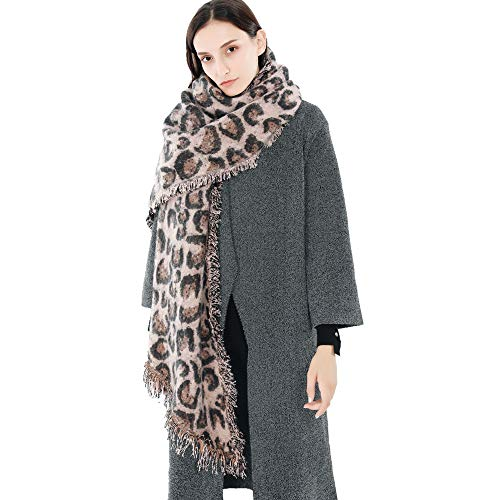 (Animal Print Tassel Cashmere Soft Long Scarf Pashmina Shawl Wrap Cover- Leopard Zebra Patterns (1 pc, Pink))