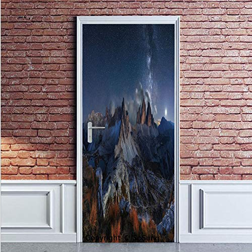Night Door Wall Mural Wallpaper Stickers,Dolomites Italy Alps Mountain Landscape with Starry Night Sky Milky Way Decorative,Vinyl Removable 3D Decals 35.4x78.7/2 Pieces set,for Home Decor Dark Blue Re