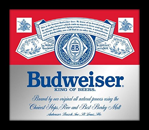 "SOTT Officially Licensed Anheuser Busch Budweiser King Of Beers Label Printed Framed Mirror, 15""W x 13""H x 1""D, D Ring For Easy Hanging, Wall Decor For Home (Bar Mirror Beer)"