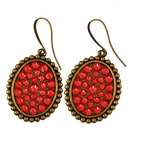 Pink Panache Earring Bronze Small Oval - Coral Oval Pink Earrings
